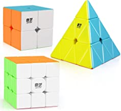 D-FantiX Qiyi Stickerless Speed Cube Set, Qidi S 2x2 Warrior W 3x3 Qiming Pyramid Magic Cube Puzzle Toys