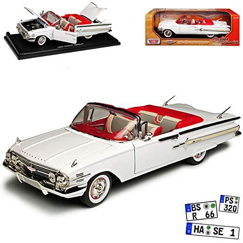 Motormax Chevrolet Chevy Impala SS Cabrio Weiss 1. Generation 1960 1/18 Modell Auto mit individiuellem Wunschkennzeichen