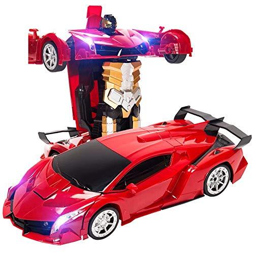 OUUED Hoge snelheid Radio afstand bestuurbare elektrische auto Vervorming Cars 1:16 Robot Model variant voertuig C met werklampen Electric oplaadbare auto Robots Best Gifts for Kids, Red