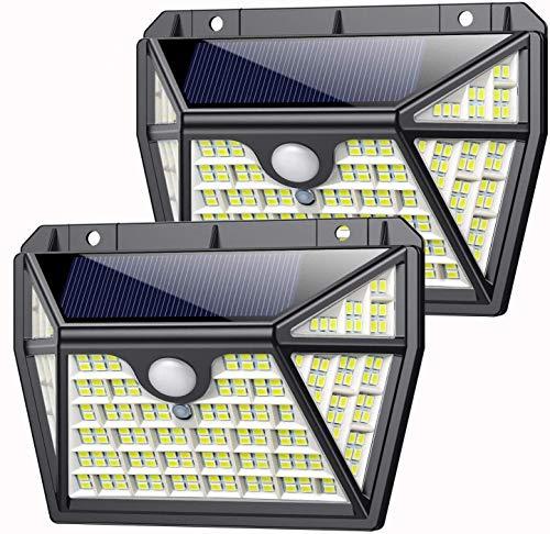 Lampade Solari a Led da Esterno, AOPAWA 210 LED【Ultima Versione Durevole 2200 mAh】Luce Solare Sensore di Movimento 3 Modalità Luci Solari Impermeabile IP65 per Giardino 2 Pezzi