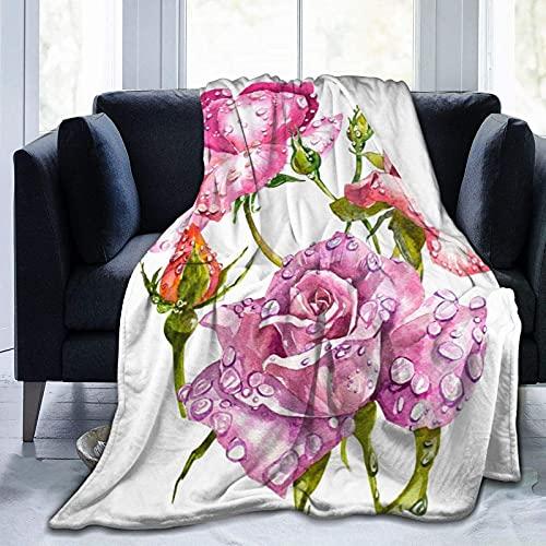 Manta de Franela, Manta de Acuarela con Ramo de Flores y Rosas, Manta de Cama Ligera y esponjosa súper Suave, Manta de Felpa cálida y Gruesa para sofá Cama