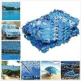 3 x 4 m / 10 x 13 ft militar camuflaje red azul océano para cazar ocultar malla exterior toldo jardín sombreado cenador, delete, 3x5m/10x16ft
