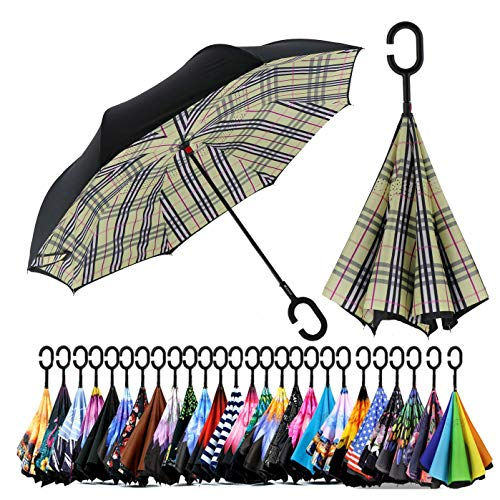 Spar. Saa Double Layer Inverted Umbrella with C-Shaped Handle, Anti-UV Waterproof Windproof Straight Umbrella for Car Rain Outdoor Use (beige check))