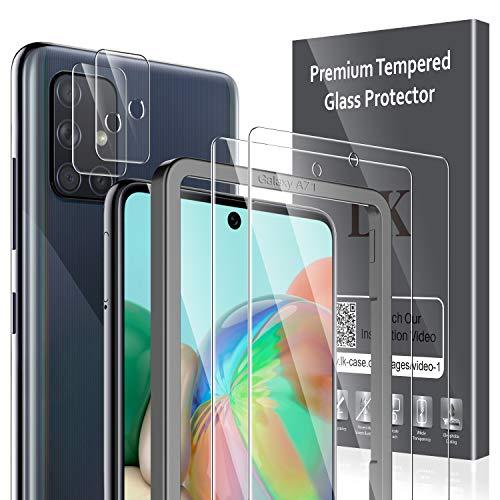 LK Panzerglas für Samsung Galaxy A71, 2 Stück Samsung Galaxy A71 Schutzfolie+2 Stück Samsung Galaxy A71 Kamera Panzerglasfolie, 9H Härte Glasfolie, HD Klar Displayschutz, [Anti-Kratzen] [Blasenfrei]