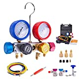 BACOENG Pro 4 Way AC Diagnostic Manifold Gauge Complete Set for R134A R410A R22, with 5FT Hose, 3 ACME Tank...