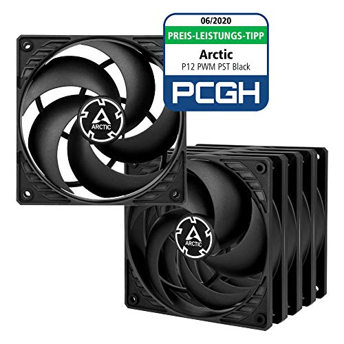 ARCTIC P12 PWM PST (Black/Black) Value Pack - Pressure-optimised 120 mm Fan with PWM and PST (PWM Sharing Technology)