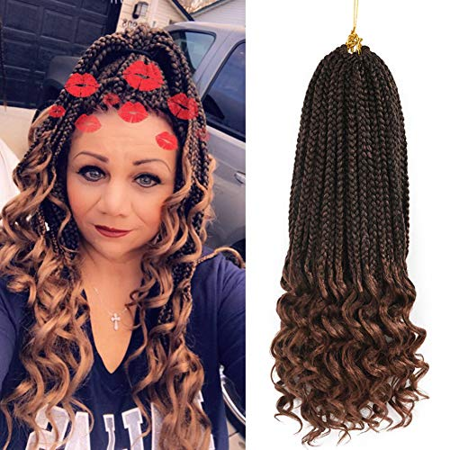Refined Hair 6Packs 18Inch 3S Wavy Box Braids Crochet Braid Hair Extensions 22roots Ombre Kanekalon Synthetic Goddess Box Braids With Wavy Free End Crochet Braids (18inch,T30)