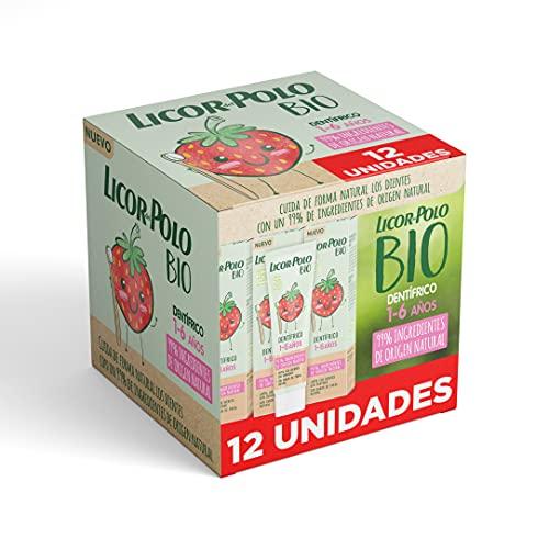 Licor Del Polo – Dentífrico Bio Junior 1-6 Años Fresa – 12uds de 50ml (600ml) – Pasta de dientes sabor FRESA – 99% de ingredientes de origen natural – Limpia los dientes con suavidad