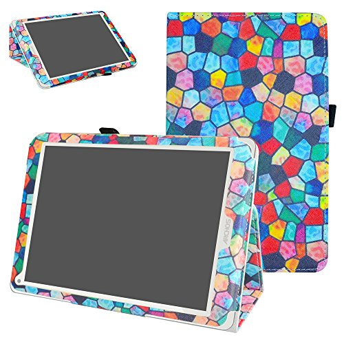 Mama Mouth Archos 97C Platinum Funda, Slim PU Cuero con Soporte Funda Caso Case para 9.7' Archos 97C Platinum Android 6.0 Tablet PC,Stained Glass