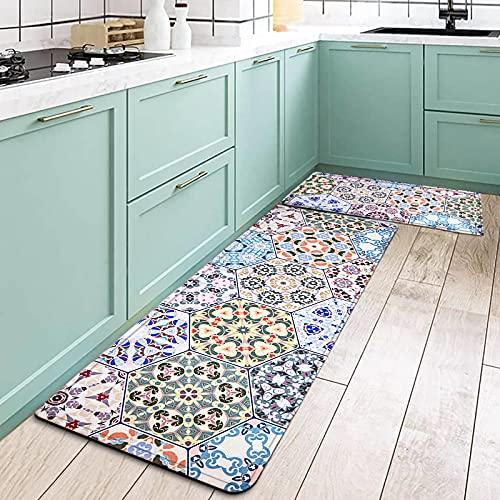 2 Stück Küchenläufer Set, rutschfest Küchenteppich mit Wasserdicht PVC, Teppich Läufer Küchenmatte für Küche, Flur, Wohnzimmer, Schlafzimmer, Badezimmer, Vintage Geometrische(120x44cm+77x44cm)