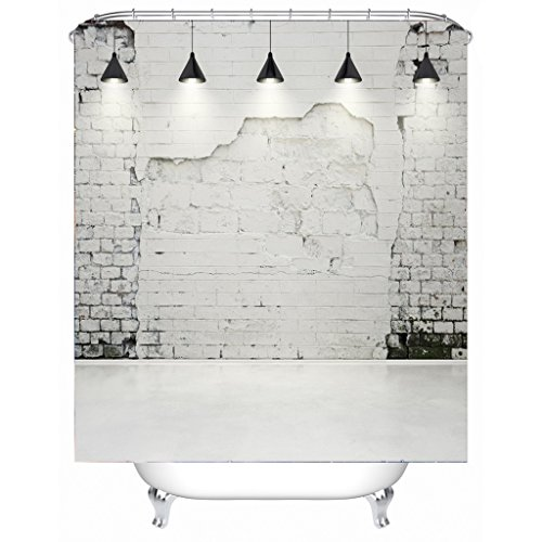 AI XIN SHOP Badezimmer- 3D White Wall Premium Wasserdichtes Mehltau-widerstandsfähiges Anti-Bakterien-Polyester-Bad-Duschvorhang, Haken inklusive (größe : 1.8 * 2m)