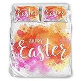 Jefers - Juego de cama de Pascua con estampado ornamentado (3 piezas), poliéster, Blanco, 90x90 inch