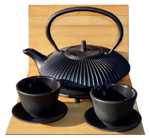 Gifts Of The Orient GOTO® - Zen Garden Arrabio Tetera Negra Tazas Y Salvamanteles Redondo - 0,8 Litros Tetsubin Japonés Estilo