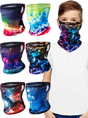 6 Pieces Kids Face Bandana Ear Loops, Cooling Neck Gaiters Headband Face Cover Scarf Balaclava Headwear for Boys Girls Outdoor (6-10 Years)