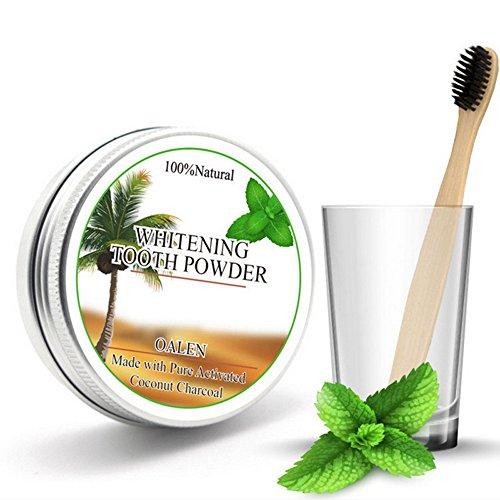 Homim poeder voor het bleken van tanden en tandenborstels, kool, kokosnoot, natuurlijk, wit, glanzend, gele vlekken, verfrissend