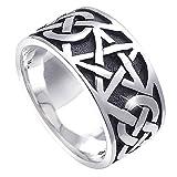 Materia - Anello da uomo e donna in argento 925 con pentagramma anticato, larghezza: 7,2 g, celtico, modello #SR-112 e Argento, 57 (18.1), colore: argento, cod. #SR-112