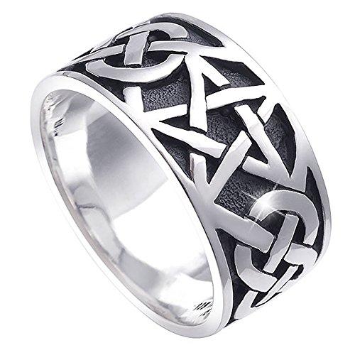MATERIA Damen Herren Ring Pentagramm 925 Silber antik breit 7,2g keltisch #SR-112, Ringgrößen:57 (18.1 mm Ø)