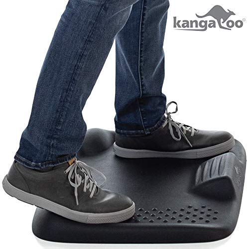Kangaroo Original Premium Anti-Fatigue Active Comfort Mat, Varied Terrain Acupressure Massage, Ergonomic Floor Mats, Kitchen, Home, Work, Office, Stand Up Desk, Long Periods of Standing, Black