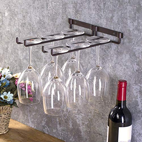 Estantes para copas de vino, colgantes de metal para copas de vino tinto, estantes para copas de barra para el hogar, 2 filas, copas, vasos, botellas de vidrio, soporte invertido para barra de cocina