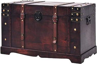 "BLUECC Vintage Wood Treasure Chest Storage Trunk Brown 26""x15""x15.7"" Gift for Boy Girl Best Friend"