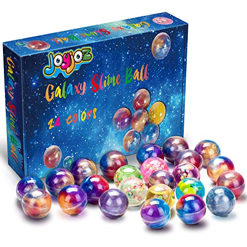 Joyjoz Kids Party Favors Slime, 24 Pack Galaxy Slime Ball, Party Favors for Kids, Unicorn Party Slime, Fluffy & Stretchy, Non-Sticky, Stress Relief, Super Soft for Girls & Boys