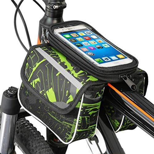 Bolsa de cuadro de bicicleta, bolsa de cuadro, bolsa de manillar, bolsa de tubo superior impermeable para bicicleta para teléfonos celulares de menos de 6.2 pulgadas, pantalla táctil sensible a TPU