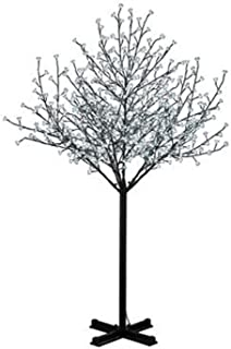 Hi-Line Gift Ltd Floral Lights Outdoor Cherry Blossom Tree, 600 LED Lights, AC Adaptor, White, 84