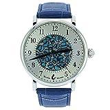 GlassOfVenice - Reloj de Cristal de Murano para Hombre Millefiori con Correa de Piel, Color Azul