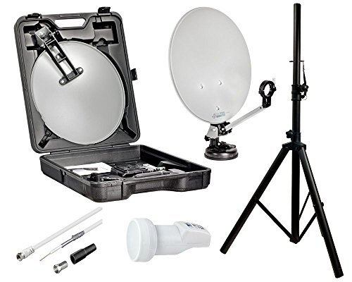 HDTV Camping Sat Anlage NUR 5,5KG Koffer Spiegel Stativ LNB Set Mobile Schüssel