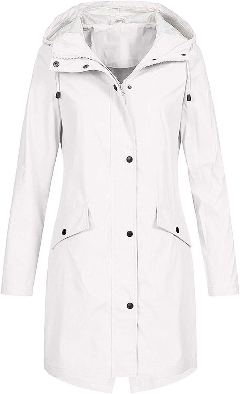 TLOOWY Womens Solid Plus Size Rain Jackets Waterproof with Hooded Outdoor Sunscreen Pockets Raincoat