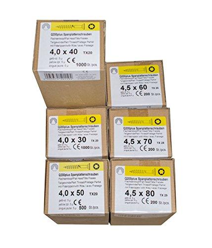 Spanplattenschrauben Sortimente REISSER Q200plus Gelb verzinkt Holzschrauben Torx (20979)