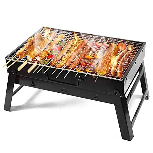 HYL Charcoal Barbecues Stainless Steel Desk Tabletop Barbecue Grill for Garden Terrace Hiking Picnics Party