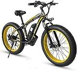 Bici electrica, Bicicletas eléctricas de montaña for adultos, todo terreno MTB Ebikes for hombres mujeres mujeres, neumático de gordas de 26 pulgadas E-Bike 21 velocidades Playa Cruiser Mens Sports Mo