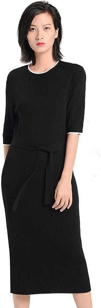 Pure Wool Dress, Ladies Temperament Women's Short-Sleeved Round Neck Slim Knit Dress