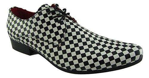Rossellini Chessmaster Herren Mehrfarbig Schuhe Leder Gefüttert Derby Schwarz Weiß Schnürschuhe (44)