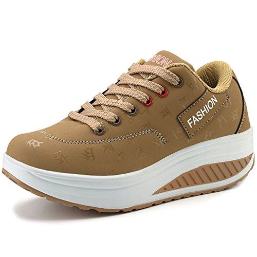 Solshine Damen Fashion Plateau Schnürer Sneakers mit Keilabsatz Walkmaxx Schuhe Fitnessschuhe Khaki 41EU