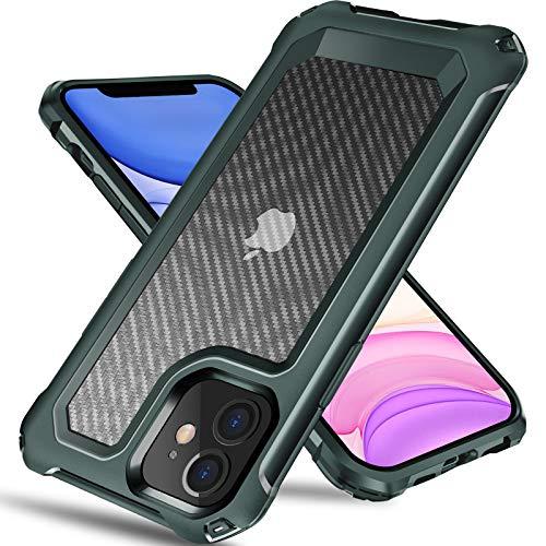 Tuerdan iPhone 11 Case, [Military Grade Shockproof] [Hard Carbon Fiber Back] [Soft TPU Bumper Frame] Anti-Scratch, Fingerprint Resistant, Protective Phone Case for iPhone 11, 6.1 Inch (Green)