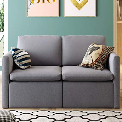Modern Loveseat Sofa, Linen Fabric Couch with Hardwood Frame, Removable and Washable Cushion, 53' Grey