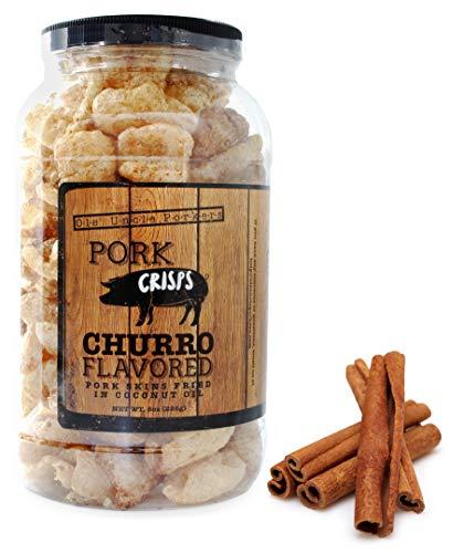 Keto-Friendly Churro Pork Rinds (Cinnamon Churro, 8 Ounces); Pork Crisps Fried in Coconut Oil, Zero Carb Snack