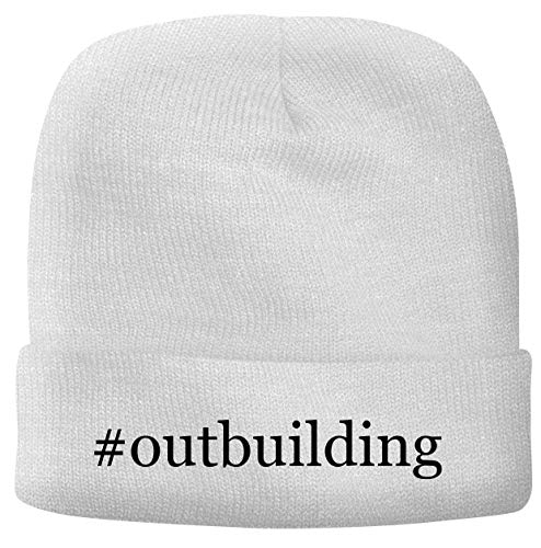 BH Cool Designs #Outbuilding - Men's Hashtag Soft & Comfortable Beanie Hat Cap, White, One Size