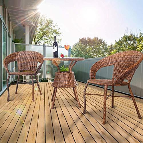 3pcs Patio Bistro fijado al Aire Libre Rota del PE Muebles de Mimbre 3 Conversation Piece Set Mesa y sillas de jardín Conjuntos de Muebles Patio Porche WKY