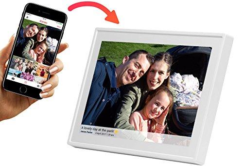 DENVER PFF-1011WHITE. Cornice digitale con Wi-Fi. 10.1 Pollici. Timer. Software fotografico per inviare foto dall'applicazione mobile al fotogramma. Risoluzione: 800x1280
