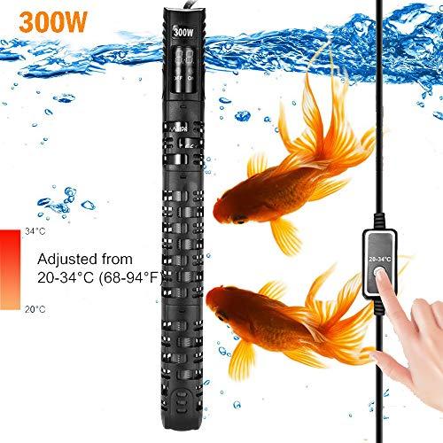Allomn verwarmer voor aquarium, automatische verwarmer voor aquarium, warmer, 20-34 °C, temperatuur verstelbaar met zuignap, bescherming voor aquarium 50-350 l, 300W 120-250L
