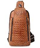 FiveloveTwo Mens Sling Bags Crocodile Leather Multipurpose Outdoor Shoulder Crossbody Chest Bag Satchels Hiking School Daypack Brown
