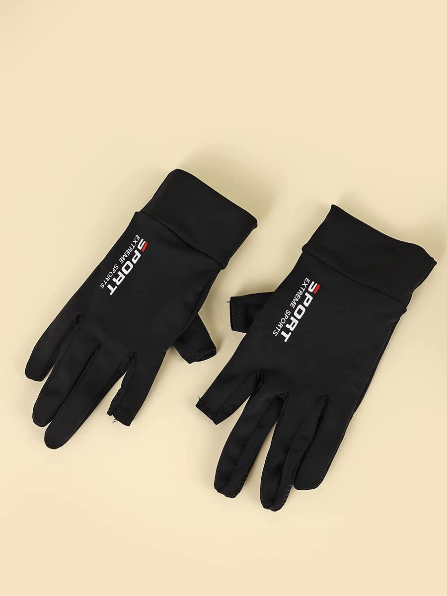ZZTT Autumn and Winter Gloves Letter Graphic Gloves Warm and Comfortable Gloves for Men or Momen (Color : Black, Size : One-Size)