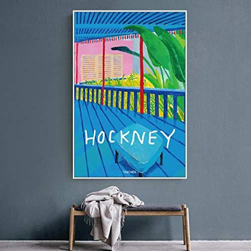 unbrand David Hockney Modern olieverfschilderij Bstract kleurrijke afbeeldingen op canvas poster wandafbeeldingen woonkamer decoratie Pop 50X70CM Q
