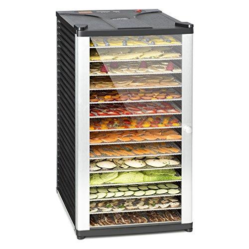 Klarstein Fruit Jerky 14 - Dörrgerät, Obst-/Fleisch- und Früchte-Trockner mit 1,8 m² Trockenfläche und 14 Etagen, 1000 Watt Leistung, stufenlos bis 70 °C einstellbar, Timer, stabiles Gehäuse, schwarz