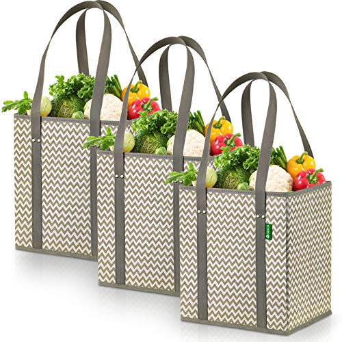 Reusable Shopping Bags - Grocery Box Bags (3 Pack - Chevron). Large, Premium Quality Heavy Duty Tote Bag Set with Extra Long Handles & Reinforced Bottom. Foldable, Collapsible, Durable and Eco Friendly