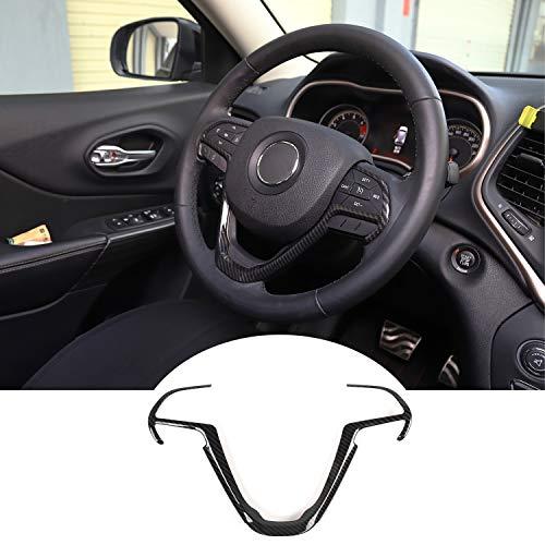 JeCar Steering Wheel Trim Cover Interior Decoration Trim Kit for 2014-2020 Jeep Grand Cherokee & Jeep Cherokee, Carbon Fiber Texture