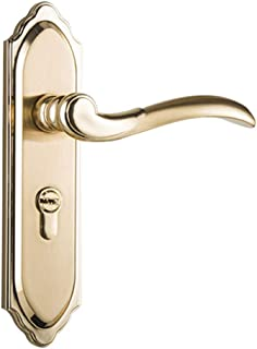 Door Handle, Ancient Anti Theft Handle Set Thickened Panel Solid Indoor Dual Latch Ideal for All Types of Internal Wooden Doors with a Full Set of Accessories,Gold,RH